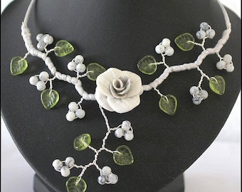 """Gray and Green Flower necklace porcelain cold """"custom"""""""