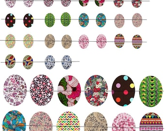 """Digital images """"No. 2"""" Oval 13x18mm and 30x40mm color patterns"""