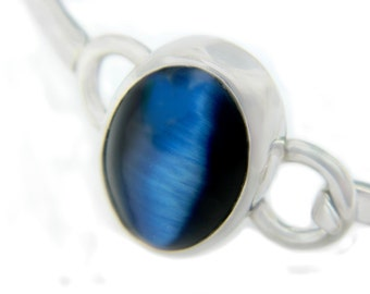 Mexico Sterling Blue Cats Eye Bracelet Hinged Hook Eye Bangle Cuff Vintage Taxco Jewelry Sterling Silver Iridescent Blue Glass Modernist