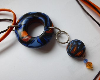 Necklace beads fimo ring orange blue black orange cord