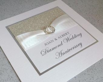 Diamond wedding anniversary card, modern, designer