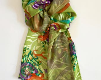 Silk Scarf double-sided chiffon shimmering green and multicolored print with pale tea green backing