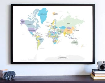 Map of the world, Wanderlust Wall Art Print, Travel Map, World Map, All the countries in the world, Gifts travel PRINT, Map your Travels