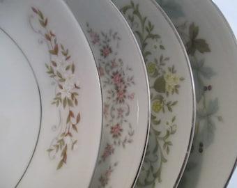 Vintage Mismatched China Dessert / Fruit Bowls - Set of 4