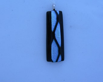 Dichroic Art Glass Pendant, Fused Glass Art Dichroic Jewelry, Fused Art Jewelry, Black and Blue Dichroic Art Glass,