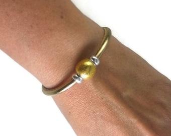 Gold Leather Bangle, Sterling Silver Bracelet, Womens Leather Bracelet, Leather Bangle Bracelet, Womens Leather Jewelry, Womens Bracelet