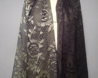 70er Schal True Vintage schwarz grau transparent Blumenmuster ombre Farbverlauf Schaltuch