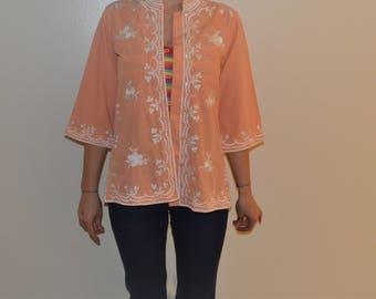 1980's Orange Embroidery Jacket
