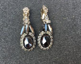 Juliana D&E Hematite and Grey Rhinestone Dangle Earrings 0742