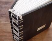 custom wedding photo album scrapbook unique wood book  victorian antique gothic - anniversary gift -  parent wedding gift - made to order