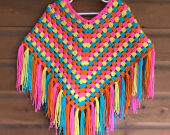 Girl's Poncho / Made to Order / Sizes 2 - 7/8