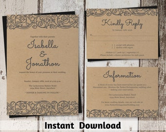 Rustic Lace Wedding Invitation Template - Shabby Chic Printable Set - Kraft Paper | Editable DIY PDF Instant Download Digital File Suite