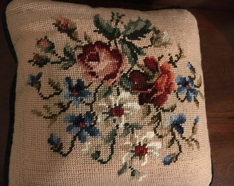 Vintage handmade 11x11 Sq. Beige Needlepoint Pillow with a Lovely Floral of Reds, Blues, & Greens