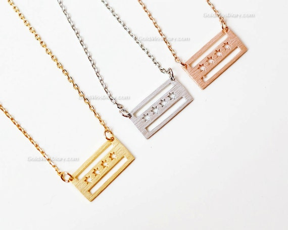 Rose Gold Chicago flag necklace Chicago Flag necklace dainty