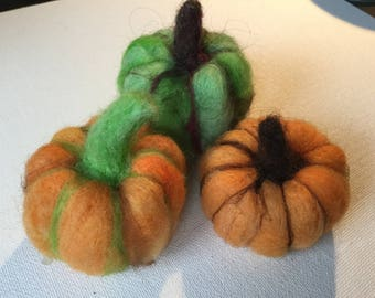 Three Felted Pumpkins