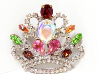 Crown Brooch- 1950 Brooch- Bijoux M G Brooch- Rhinestone Brooch- Royal Brooch- Statement Piece- Mid Century Brooch- Costume Jewelry