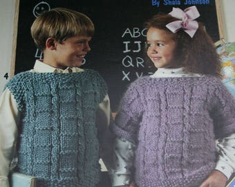 Knitting Patterns Sweaters and Vests for Children Leisure Arts 840 Sizes 6 to 12 Bulky Weight Boy Girl Vintage Paper Original NOT a PDF