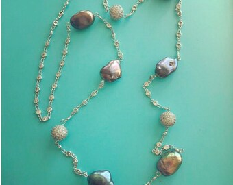 Pearls on a Chain Long Necklace