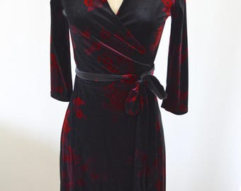 Velvet Wrap Dress Asian Floral Merlot Street Style Office Secretary Resort Free Shipping us