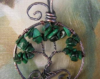 Malachite Tree of Life Wire Wrapped Pendant Jewelry