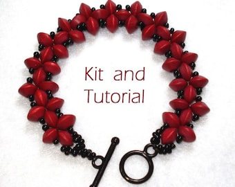 Simple Stitched Saucer Bracelet Kit - great for Right Angle Weave beginners!
