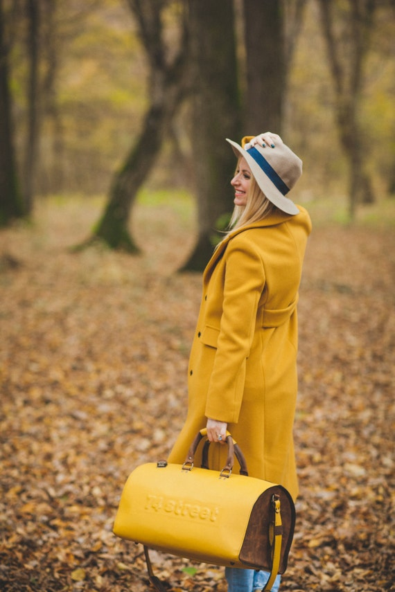 Yellow Duffel Bag, Yellow Travel Bag, Yellow Sports Bag, Yellow Leather Weekender Bag, Yellow Leather Bag
