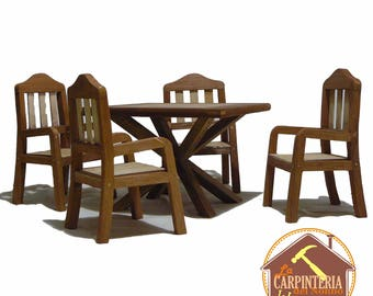 Chair and table for Barbie / Chair and table for doll  / Dining room in miniature