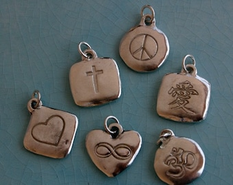 Love Letters Symbol Charms Peace Sign, Om, Infinity
