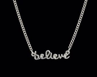Believe necklace, believe charm necklace, inspirational necklace, ceciart, gold plated over sterling silver believe necklace