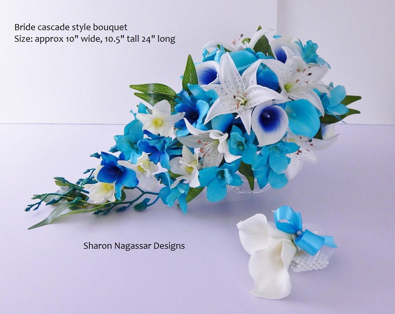 Turquoise/aqua, blue/royal/deep, orchids, cascade/cascading, bouquet ...