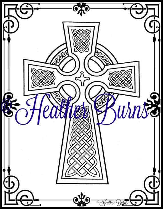 Coloring Page Celtic Cross Adult