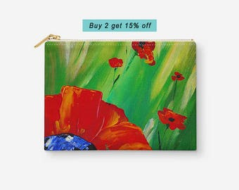 Floral Cosmetic Pouch, Large Accessory Bag, Red Green Makeup Bag, Poppy Flower, Organizer Bag, Zipper Pouch, Gift for Her, Gift under 20