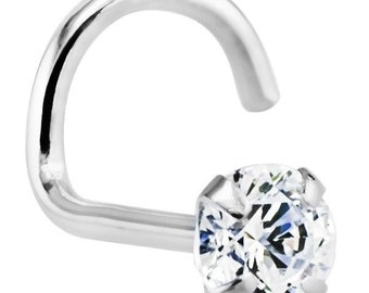 3mm (.10 ct.) Diamond 14K White Gold Nose Rings Twist Screw