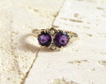 Antique Amethyst Ring, Antique Amethyst and Seed Pearl Ring, Vintage Amethyst Ring, February Birthstone Ring, February Birthstone