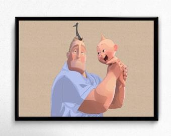 Mr Incredible and Jack Jack The Incredibles Art Print Poster