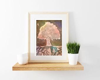 Original Tree Painting, Modern Decor, Rustic Wall Art, Rustic Decor