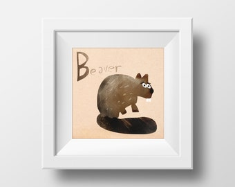 Animal Alphabet Beaver Illustrated Nursery Wall Art Giclée Print