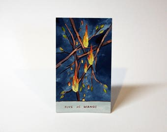 Five of Wands - Original Watercolor Painting - Tarot Card