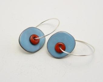 Reversible enamel circle earrings on sterling silver hoops