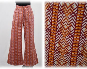 1970s High Waisted Bell Bottom Pants Polyester Knit