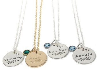Grandma Necklace with Birthstone, Grammy Necklace, Birthstone Name Necklace, Personalized Nana Necklace, Sterling Silver or 14K Gold Filled