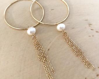 14k goldfilled Endless Hoop and Pearl Tassel Earrings . Large 40mm