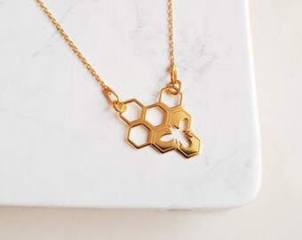 Honey Bee Gold Necklace | 24k Gold Honeycomb Necklace | Hexagon Necklace | Honeycomb Jewelry |