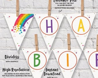 INSTANT DOWNLOAD - EDITABLE Rainbow Birthday Pennant Banner rainbow Party decorations Happy Birthday Wall Banner