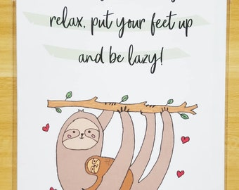 Handmade Card - Sloths, Happy Birthday, Card