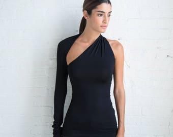 NEW One Shoulder Blouse /  Unique Designer Top / Cocktail Top / Halter Top / Party Top / Bandeau Unique Blouse / Marcellamoda - MB0001