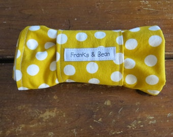 Compact and Waterproof  Roll-up Travel Changing Pad in Mustard Yellow Polka Dots