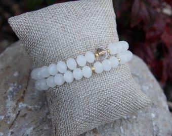 Transclucent white crystal beaded bracelets