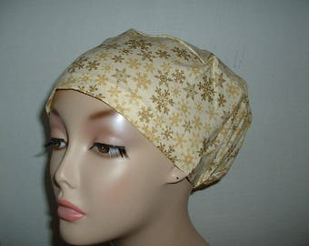 Christmas  Snowflakes Ivory Bisque Gold Euro European OR Surgical Scrub Hat Chef Rn Md