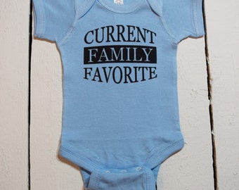 Current Family Favorite - Cute Funny Blue Baby Boy One Piece Bodysuit or Toddler / Children's T-shirt - Color Options Available!